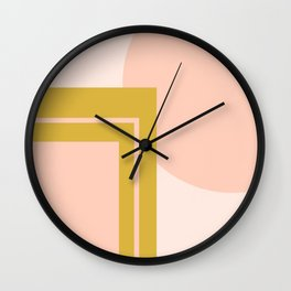 Deco Geometric Abstract Pattern in Gold and Millennial Pink Wall Clock