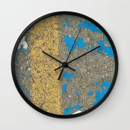 Urban Texture Photography - Painted Asphalt - Blue and Yellow Wall Clock