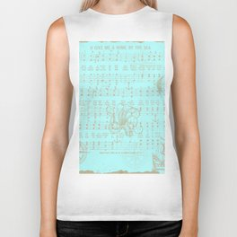 Vintage aqua brown nautical classic music sheet Biker Tank