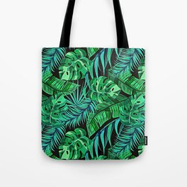 Blue and Green Ferns and Tropical Leaves Tote Bag
