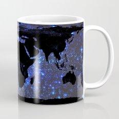 World Map : Blue Galaxy Stars Mug