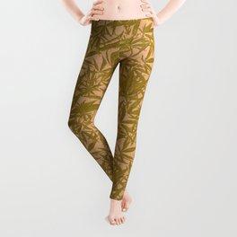 Vintage Cannabis Blossom Toss in Grass Green Leggings