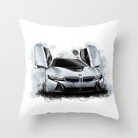 bmw Throw Pillows featuring BMW i8 by an.artwrok