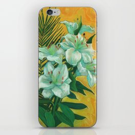 White Lilies and Palm Leaf iPhone Skin