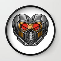 starlord Wall Clocks featuring Star Lord Heart by Sam Skyler