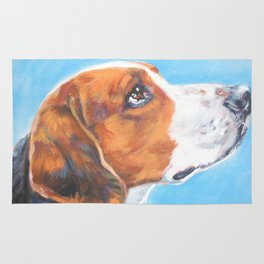 A realistic American Foxhound portrait by L.A.Shepard fine art painting Rug