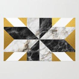 Gold foil white black marble #1 Rug