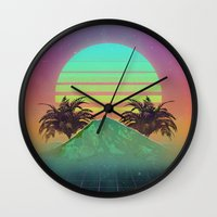 80s Wall Clocks featuring 80s love by Mikuloctopus