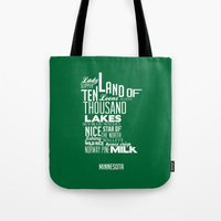 minnesota Tote Bags featuring Minnesota by Kelly Jane
