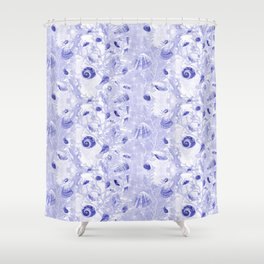 Shells - Deep Blue - Casart Sea Life Treasures Collection Shower Curtain