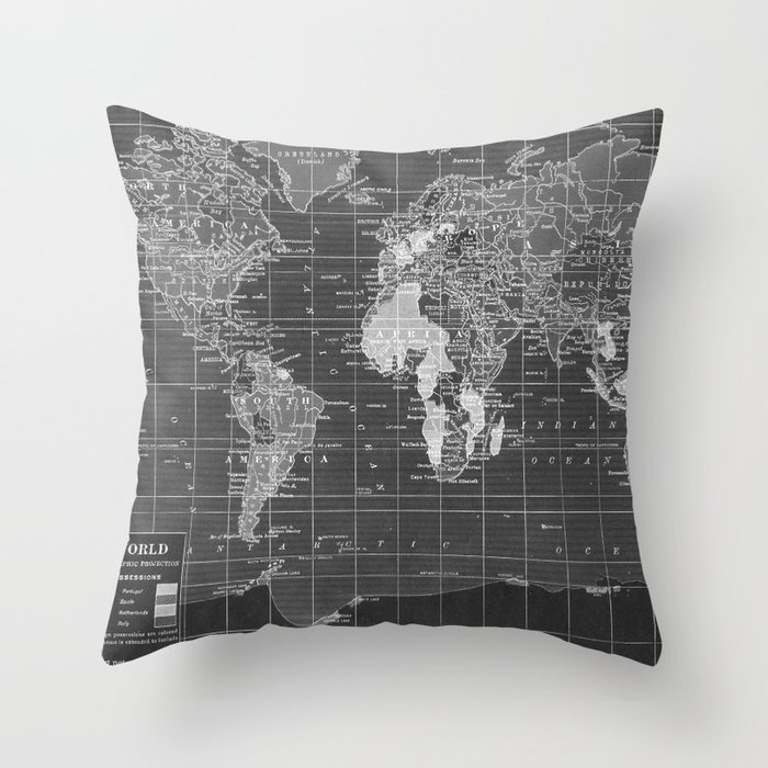 Black And White Vintage World Map Throw Pillow By Catherineholcombe - Black and white vintage world map
