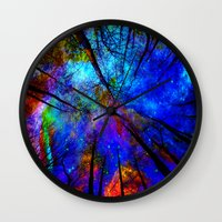 bedding Wall Clocks featuring Colorful forest by haroulita