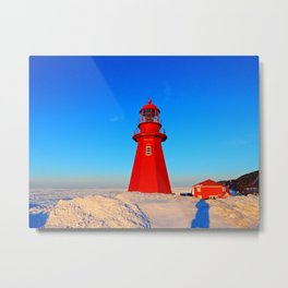 Lighthouse  and Frozen Sea Metal Print