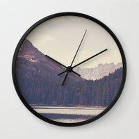 lake Wall Clocks featuring Morning Mountain Lake by Kurt Rahn