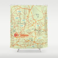 maps Shower Curtains featuring Maps - Johannesburg by DRIEHOEK