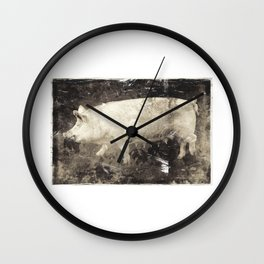 Vintage Aesthetic Pork Photograph Wall Clock