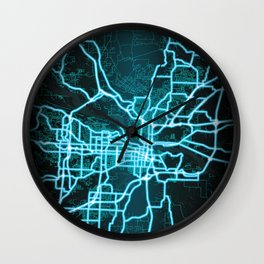 Little Rock, AR, USA, Blue, White, Neon, Glow, City, Map Wall Clock