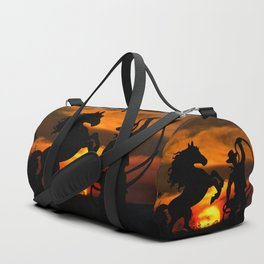 Cowboy at sunset Duffle Bag