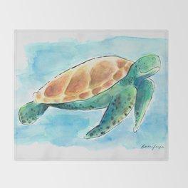 Sea Turtle Waterolour Throw Blanket
