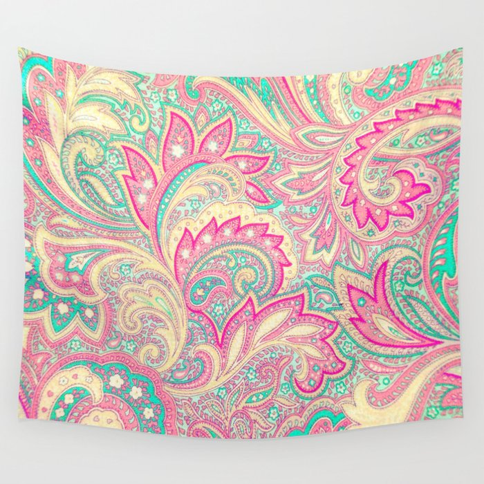 Pink Turquoise Girly Chic Floral Paisley Pattern Rug By: Pink Turquoise Girly Chic Floral Paisley Pattern Wall
