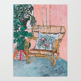 Cane Chair After David Hockney Poster