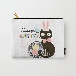 Happy Easter - Cute Black Cat with pink Bunny ear and blue Spring butterfly Carry-All Pouch
