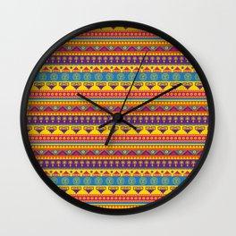 vivid mexican pattern Wall Clock