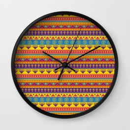 vivid mexican pattern Wall Clock