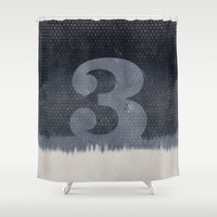 three of the possessed Shower Curtains featuring THREE by Morselli Mattia