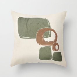 Retro Abstract Design in Cinnamon and Sage Green Throw Pillow