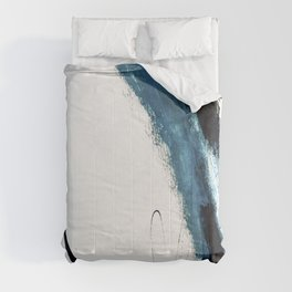 Reykjavik: a pretty and minimal mixed media piece in black, white, and blue Comforters