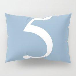 number five sign on placid blue color background Pillow Sham