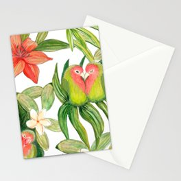 Lovebird tropical flower watercolor art Stationery Cards