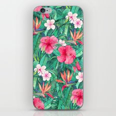 Classic Tropical Garden with Pink Flowers iPhone & iPod Skin