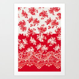 small bouquets in bright red with border Art Print