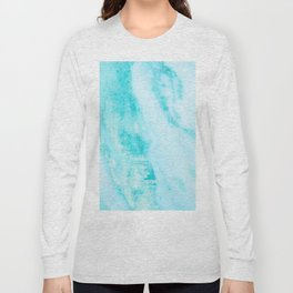 Shimmery Teal Ocean Blue Turquoise Marble Metallic Long Sleeve T-shirt