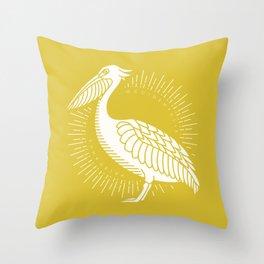 Golden Brown Pelican Throw Pillow