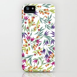 Seamless pattern with different wild flowers iPhone Case