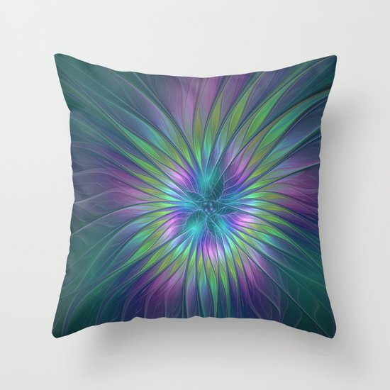Colorful and luminous Fantasy Flower, Abstract Fractal Art Throw Pillow