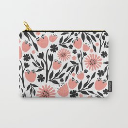 Floral Pattern Dark Gray and Light Coral Carry-All Pouch
