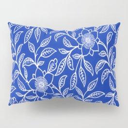 Vintage Lace Floral Sapphire Blue Pillow Sham