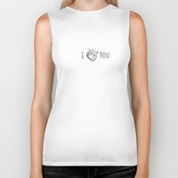 anatomical heart Biker Tanks featuring I heart you in an anatomical way by Tiny Baker