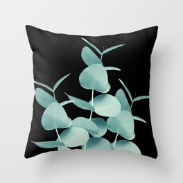 Eucalyptus Leaves Green Black #1 #foliage #decor #art #society6 Throw Pillow