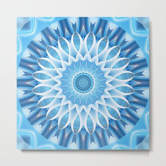 Mandala blue blossom Metal Print