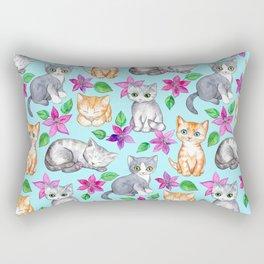 Kittens and Clematis - blue Rectangular Pillow