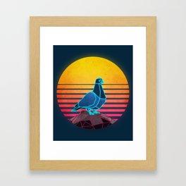 Neon Retro Synthwave Pigeon Framed Art Print