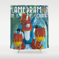 digimon Shower Curtains featuring The Fire Of Courage by Zaukhes