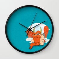 pixies Wall Clocks featuring Graggy, the plump Happy Chaos Monster of Scotland by Roxie Rose Design