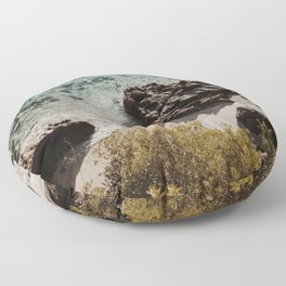 Clear water in a lonely beach Floor Pillow