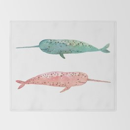 Narwhals on their way Throw Blanket